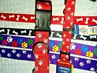 "PURPLE or RED 1"" WIDE NYLON DOG LEASH, BONES OR PAWS, MADE IN USA"