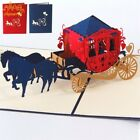 Love Carriage 3D Greeting Card Pop Up Laser Cut Wedding Valentines Postcard 1PC