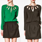 New Women's Stylish Solid Long Sleeve Openwork Neck Vogue Shirt Blouse Tops Chic