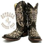 Corral Women's Black & Silver Studded Cross Square Toe Boots C2859