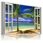 """3D LAGUNA Window View Canvas Wall Art Picture Large SIZE 30X20"""" W8"""
