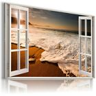 "3D SUNSET Window View Canvas Wall Art Picture Large SIZE 30X20"" W17"