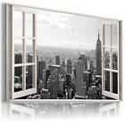 3D NEW YORK Window View Canvas Wall Art Picture Large SIZES   W12 X