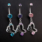 Navel Belly Glamour Button Ring Crystal Rhinestone Heart Body Piercing Jewelry