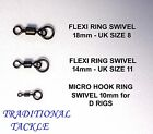 MATT BLACK  FLEXI RING SWIVELS SIZE 8, 11 &  MICRO HOOK FOR D-RIGS -CARP TACKLE