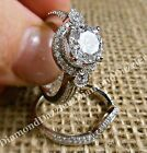 Vintage Estate style Round cut Halo Engagement Ring 2pc Band Set Sterling Silver