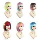 Women Fashion Multicolor Soft Short Bob Cosplay Party Costume Full Wig Hairpiece