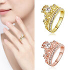 2Colors 925L Silver Plated Women Princess Wedding Band Zircon Crown Ring Jewelry