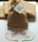 10 Handmade Hessian Favour Bags Plus 10 Thank You Heart Tags + Twine 3 Colours