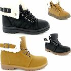 Ladies Womens Flat Fur Lined Winter Ankle Boots Grip Sole Lace Up New Shoe Size