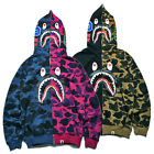 New Mens Bape A Bathing Ape Hoodie Shark Head Full Zip Coat Jacket Sweatshirt