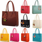 Fashion Women Girls Leather Handbags Large Shoulder Bag Candy Color Flower Totes