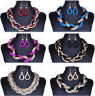 Multiple Women Mesh Twisted Rope Cords Colorful Collar Necklace Earrings Set