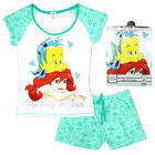 Womens Disney Little Mermaid Ariel Stay In Bed Shorty Pyjamas Plus Sizes 8 to 22