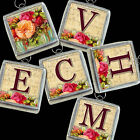 Initials Letters Vtg Floral Flowers Roses Necklace Silver Pewter Charms Pendants