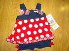 Rare Editions Baby Girls' Red, White & Blue Romper Size 3/6-6/9-12 Months NWT