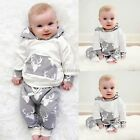 2PCS Toddlers Kids Baby Boys Clothes Deer Hooded Tops Jacket + Pants Outfits Set