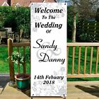 Personalised Welcome to Wedding Sign Banner & Stand, Freestanding 10 colours