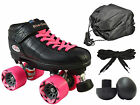 Riedell R3 Black & Pink Quad Roller Derby Speed Skate 4pc. Bundle w/ Bag & Plugs