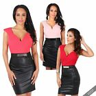 Womens Ladies Stretch Pvc Leather Pencil Skirt Bodycon Shift Dress Party Office