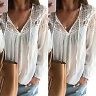 CHIC Fashion Women's Lace Tops Tee Long Sleeve Shirt Casual Blouse Loose T-shirt