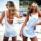 Hot Ladies Womens Beach Sleeveless Backless Long Vest Tank Top Blouse Mini Dress