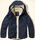 HOLLISTER by ABERCROMBIE Mens Sherpa Lined All-Weather Jacket NAVY BLUE