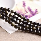 0025  6-18 mm Natural gold eye obsidian round beads strand
