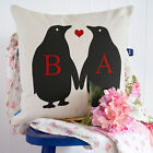 Personalised Penguin Initial Couple Love Valentines Cushion Cover Him Her Gift