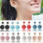 UP New Womens 925 Silver Plated Double Crystal Ball Ear stud Earrings Jewelry