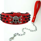 Leather Rivets Dog Skull Collar+Chain Leash SET Spiked Studs Pitbull Rottweiler