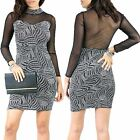 Womens Ladies Glitter Contrast Mesh Panel Polo Neck Bodycon Pencil Mini Dress