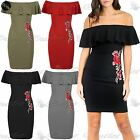 Women Ladies Off Shoulder Peplum Frill Embroidery Floral Rose Bodycon Mini Dress