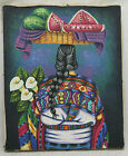 "MEXICAN FOLK ART VILLAGE WOMAN CARRYING FLOWERS OIL PAINTING ON CANVAS 9"" X 11"""