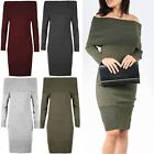 Womens Ladies Knitted Off Shoulder Bardot Peplum Frill Bodycon Jumper Midi Dress