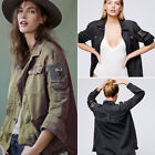 Embroidered Button Up Embellished Army Military Shirt Jacket Outwear Coat Pocket