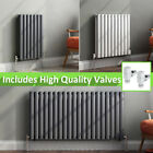 Designer Horizontal Radiators Anthracite White Oval Panel Rad With Angled Valves