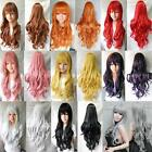 9color #A Heat Resistant 80cm Long Wavy Curly Cosplay Wigs Full Wig Fancy Dress