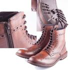 Rydale Mens Wetherby Brogue Boot with Zip and Lace Antique Oxblood Leather
