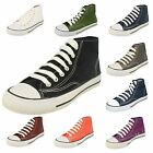 Childrens Spot On Canvas Lace Up Hi-Top Pumps with White Toe Post X0002