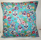 New Turquoise Day of the Dead Sugar Skulls cushion cover -  from £3.99