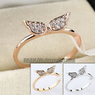 E2-R016 Fashion Angel Wings Band Ring CZ 18KGP Pave Prong setting Size 5.5-8
