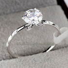 A1-R3132 Fashion Solitaire Flower Ring 18KGP CZ Rhinestone Crystal Size 5.5-9