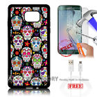 Samsung S6 Edge+ Plus 5.7' Case Cover Tempered Glass Film A4857 Sugar Skull