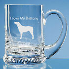 Brittany Spaniel Dog Lover Gift Personalised Engraved Handmade Glass Tankard