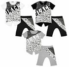 Boys Black Star Abstract Print T-Shirt Top & Drop Crotch Shorts Set 4 - 12 Years
