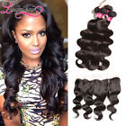 7A Indian Hair Bundles With Lace Closure 4*13 Lace Frontal and 3 PCS Human Weft