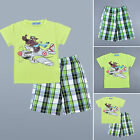 Kids Boys Green Short Sleeve T-Shirts Grid Slack Pants Tops Bottoms Outfits Sets
