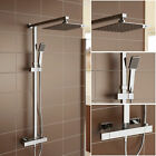 Twin Head Square Exposed Thermostatic Bathroom Shower Mixer Chrome Valve Set 13S