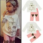 0-5T Kids Baby Girls T-shirt Tops+Long Pants Trousers Outfits Clothes 2PCS Set